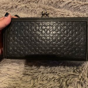 Leather Coach clutch +bonus tartan plaid wristlet
